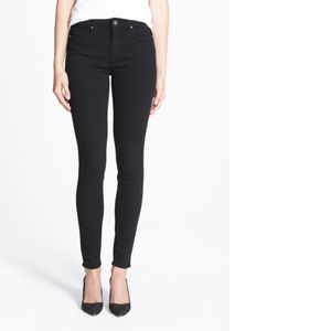 PAIGE Hoxton High Rise Skinny Black Shadow Jeans